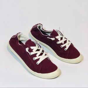 Burgundy Mad Love Sneakers | white laces